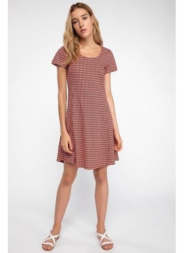 DeFacto Desenli Basic Elbise Kırmızı